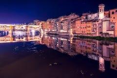 Ponte vecchio di notte fotografía de archivo