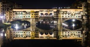 Ponte Vecchio di notte, Firenze Immagine Stock
