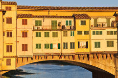 Ponte Vecchio at dusk. Old famous italian bridge of Florence Royalty Free Stock Photography