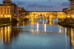 Ponte Vecchio at dusk, Florence, Italy Stock Images