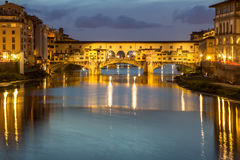 Ponte Vecchio at dusk, Florence, Italy Royalty Free Stock Photo