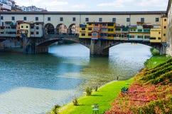 Ponte Vecchio e Arno River in autunno, Firenze Fotografia Stock