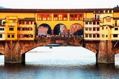 Ponte Vecchio en la puesta del sol, Florencia Fotografía de archivo