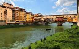 Ponte Vecchio the famous arch bridge in Florence, Italy Royalty Free Stock Photography