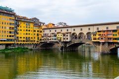 Ponte Vecchio, famous old bridge in Florence on the Arno river, Stock Photo