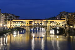 Ponte Vecchio in Firenze, Italy - night scene royalty free stock image