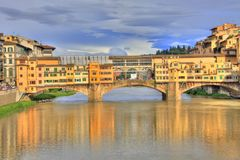 Ponte Vecchio, Florence. Ponte Vecchio at sunset, Florence, Italy (HDR photo Royalty Free Stock Image