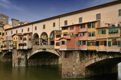 Ponte Vecchio in Florence. Ponte Vecchio (old bridge) in Florence Italy. This is a two floor bridge: the upper floor was reserved to governors and vip Stock Photos