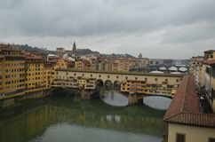 Ponte Vecchio, Florence, city, town, sky, river. Ponte Vecchio, Florence is city, river and reflection. That marvel has town, bridge and cityscape and that stock image