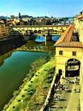 Ponte Vecchio in Florence en zonnige dag stock foto