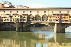 Ponte Vecchio in Florence, Italië, Oude Brug stock afbeelding