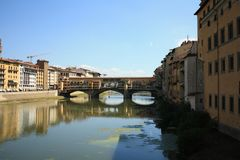 Ponte Vecchio in Florence, Italië, Oude Brug stock foto