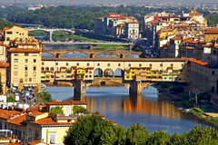 Ponte Vecchio in Florence, Italy. On the phoyo: Ponte Vecchio in Florence, Italy Royalty Free Stock Images