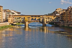 Ponte Vecchio in Florence, Italy. The old bridge over the Arno river in Florence, Italy Stock Image