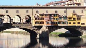 Ponte Vecchio, Florence, Italy. Exterior of Ponte Vecchio bridge, Florence, Italy stock video footage