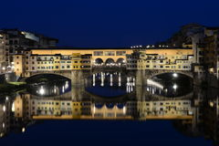 Ponte Vecchio in Florence Italy lit at night Royalty Free Stock Photo