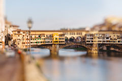 Ponte Vecchio, Florence, Italy. Miniature tilt shift lens effect Stock Images