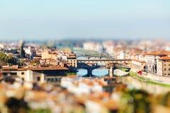 Ponte Vecchio, Florence, Italy. Miniature tilt shift lens effect Stock Image
