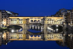 Ponte Vecchio in Florence Italy night scene Stock Photo