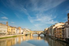 Ponte Vecchio in Florence, Italy. Sunny day Royalty Free Stock Photo