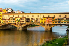 Ponte Vecchio in Florence Italy. View of the Ponte Vecchio Old Bridge in Florence Italy Royalty Free Stock Photos