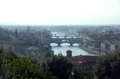 Ponte Vecchio,Florence,Italy. View of Ponte Vecchio in Florence,taken from viewpoint at Piazzale Michelangelo Stock Photos
