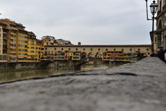 Ponte Vecchio, Florence. This is one of the oldest bridges all around the world. When you walk over this bridge you will see the most expensive jewelry stores Stock Image