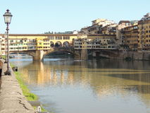 Florence Old Bridge. The Ponte Vecchio is one of the symbols of the city of Florence and one of the most famous bridges in the world.It crosses the river Arno in Royalty Free Stock Photography