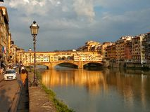 Ponte Vecchio in Florence. Florence sunset, june 2016, best place to holiday Stock Photography
