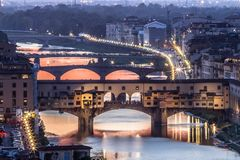 Great View of Ponte Vecchio at sunset, Firenze, Italy Stock Images