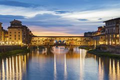 Ponte Vecchio in Florence, Tuscany, Italy at dusk Royalty Free Stock Photos