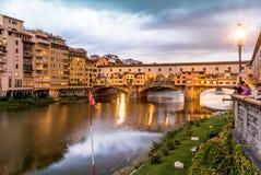 Ponte Vecchio in Florenz Italien Stockbild