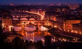 Ponte Vecchio från Piazzale Michelangelo Royaltyfria Bilder