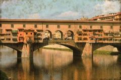 Ponte Vecchio i Florence - tappning Royaltyfria Foton