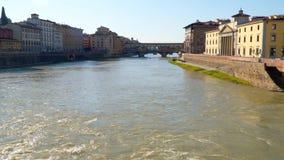 Ponte Vecchio landmark , old bridge. Arno river in Florence. Tuscany, Italy stock footage
