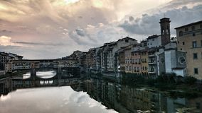 Ponte Vecchio landmark on sunset, old bridge, Arno river in Florence. Tuscany, Italy. Royalty Free Stock Photography