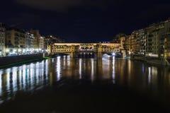Ponte Vecchio nella notte Fotografia Stock