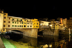 Ponte Vecchio at night. The famous italian bridge in Firenze Stock Images