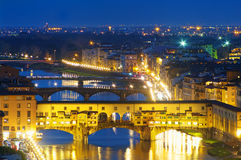 Ponte Vecchio at night in Florence, Italy. Royalty Free Stock Photography