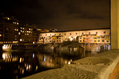 Ponte Vecchio at night, Florence stock photo
