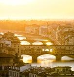 Ponte Vecchio no por do sol, Florença Italy Foto de Stock Royalty Free