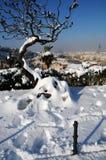 Ponte Vecchio o vecchio ponte Florence Italy con panorama Toscana della neve Immagini Stock