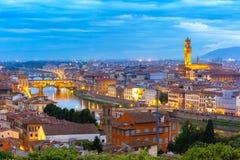 Ponte Vecchio och Palazzo Vecchio, Florence, Italien Arkivfoto