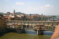 Ponte vecchio (old bridge). View from the window of The Uffizi Gallery, Florence, Italy Royalty Free Stock Photo