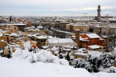 Ponte Vecchio or Old Bridge Florence Italy with snow panorama Tuscany Stock Image