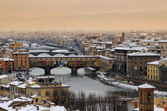 Ponte Vecchio or Old Bridge Florence Italy with snow panorama Tuscany Royalty Free Stock Photography