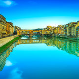 Ponte Vecchio landmark, old bridge, Arno river in Florence. Tusc Stock Images