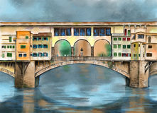 Ponte vecchio. Original watercolor painting depicting the ponte vecchio bridge from Florence in Tuscany, Italy Stock Image