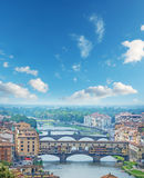 Ponte Vecchio and other bridges over Arno river in Florence Royalty Free Stock Image