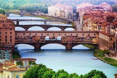 Ponte Vecchio over Arno river Royalty Free Stock Photography
